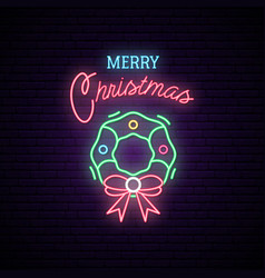 christmas wreath neon sign night bright vector image