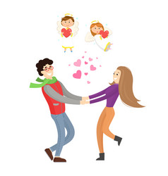 couple in love and cupid angels valentines day vector image