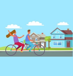 couple riding on tandem or twin bicycle cottage vector image
