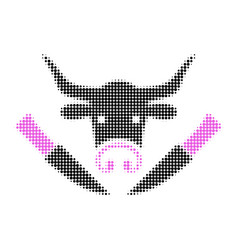 cow butchery halftone dotted icon vector image