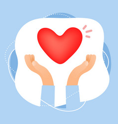 creative color of human hand holding a red heart vector image