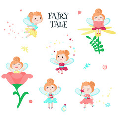 cute little fairy icon set isolated vector image