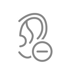 Ear with minus line icon disease hearing organ vector
