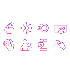 Edit user seo gear and fast recovery icons set vector