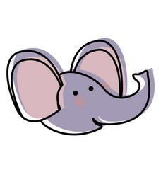 elephant cartoon head in watercolor silhouette vector image