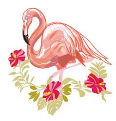 Embroidery flamingo vector