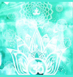 esoteric background with lotus and yoga symbol vector image
