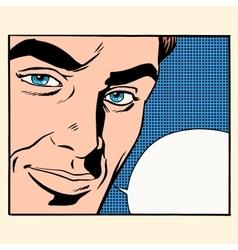 Face beautiful men comic bubble vector