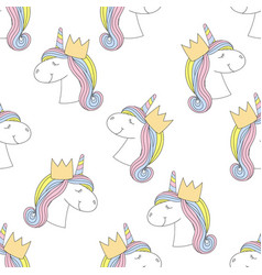 Fashion seamless print pattern with unicorn vector