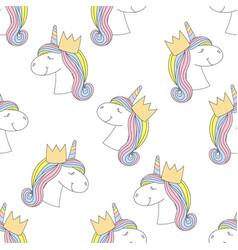 fashion seamless print pattern with unicorn vector image