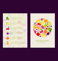 flat fruits vegan healthy food card vector image vector image