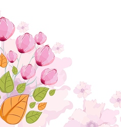 Floral summer design with hand-painted abstract vector image