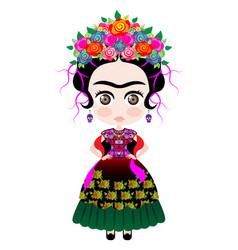 friday kahlo kokeshi doll style cartoon doll icon vector image
