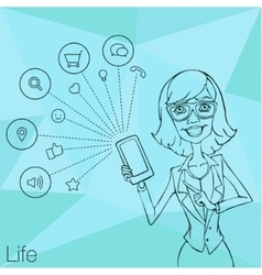 Girl in business suit showing a smartphone screen vector image