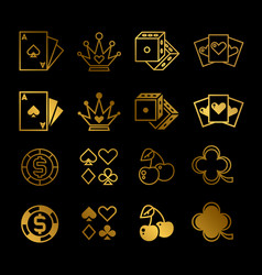golden casino gambling poker line and silhouette vector image