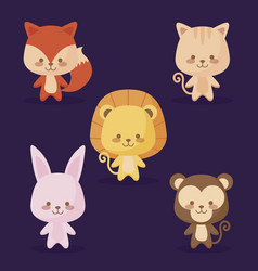 group of cute animals icons vector image
