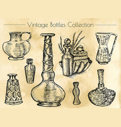 Hand drawn collection of vintage perfume bottles vector
