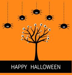 Happy halloween card spider hanging dash line vector