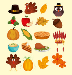 happy thanks giving set icons vector image