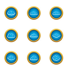 Heavenly cloud icons set flat style vector