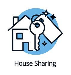 House sharing property share concept with key vector