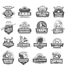 hunting club icons animals and ammunition vector image