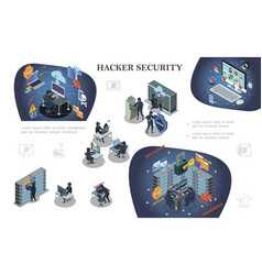 isometric hacking activity elements composition vector image
