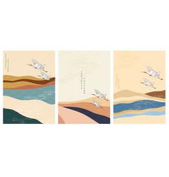 japanese template with crane birds mountain vector image
