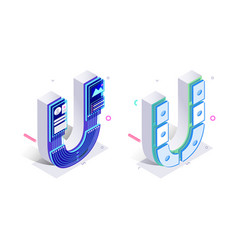letters u with social networks elements vector image