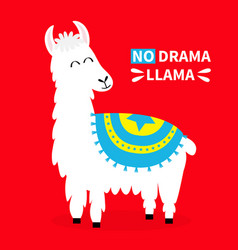 Llama alpaca no drama sad face cute cartoon funny vector