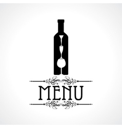 menu card with wine glass and bottle vector image