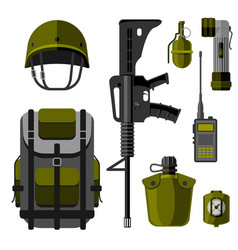 Military weapon guns armor forces design and vector