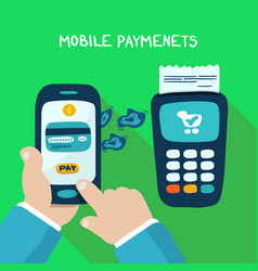 mobile payments with wireless terminal vector image