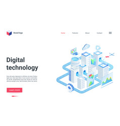 modern city future digital technology isometric vector image