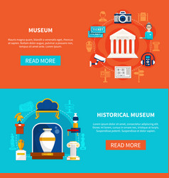 Museum flat horizontal banners vector