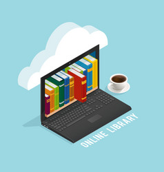Online library isometric design vector