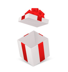 open gift box realistic cardboard cube container vector image