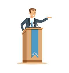 Orator speaking from tribune public speaker vector
