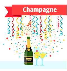 Party with champagne serpentine and glasses vector
