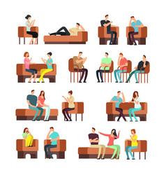 patients and psychologist psychotherapy support vector image