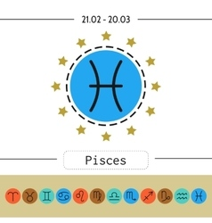 Pisces signs of zodiac flat linear icons for vector