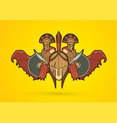 Roman or greek helmet and angry warrior vector