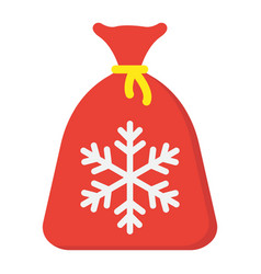 santa bag flat icon new year and christmas vector image vector image