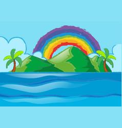 scene with rainbow over the island vector image