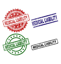 Scratched textured medical liability stamp seals vector