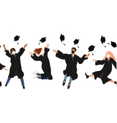 Seamless border with happy graduate students vector