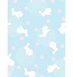 Seamless flowers and rabbits background vector