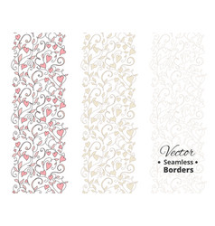 seamless love borders wedding floral pattern vector image