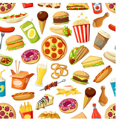 seamless pattern fast food meals vector image