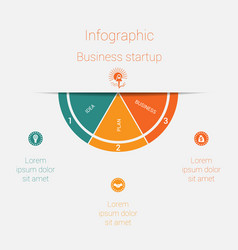 semicircle template infographics startup business vector image